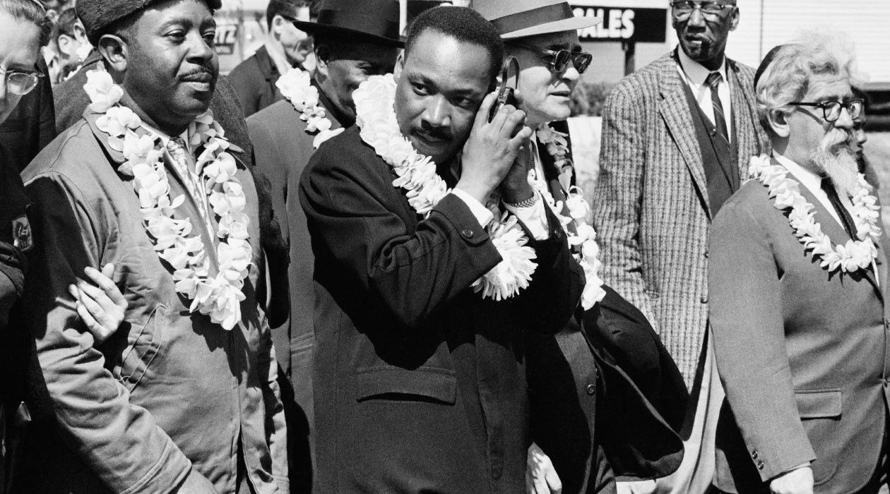 One Small Step: Dr. Martin Luther King Jr. marched with Rabbi Abraham Heschel (far right) in 1965.