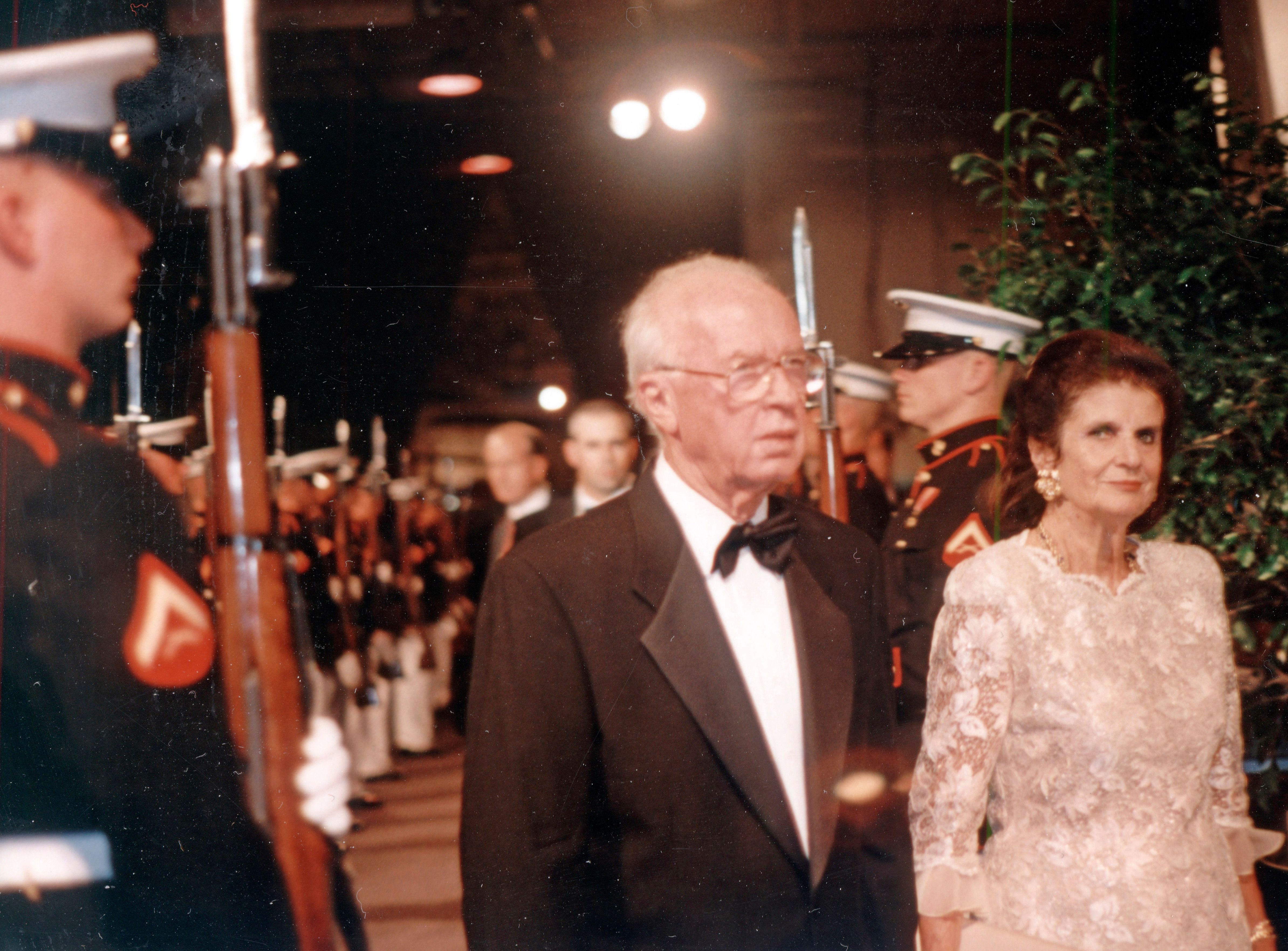 Yitzhak Rabin and wife Leah arrive at the Intrepid in 1995.