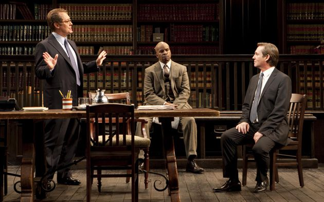 Privileged Lawyers and Client: Partners Jack Lawson (James Spader), left, and Henry Brown (David Alan Grier), middle, debate whether to take the case of Charles Strickland (Richard Thomas), who is accused of rape.