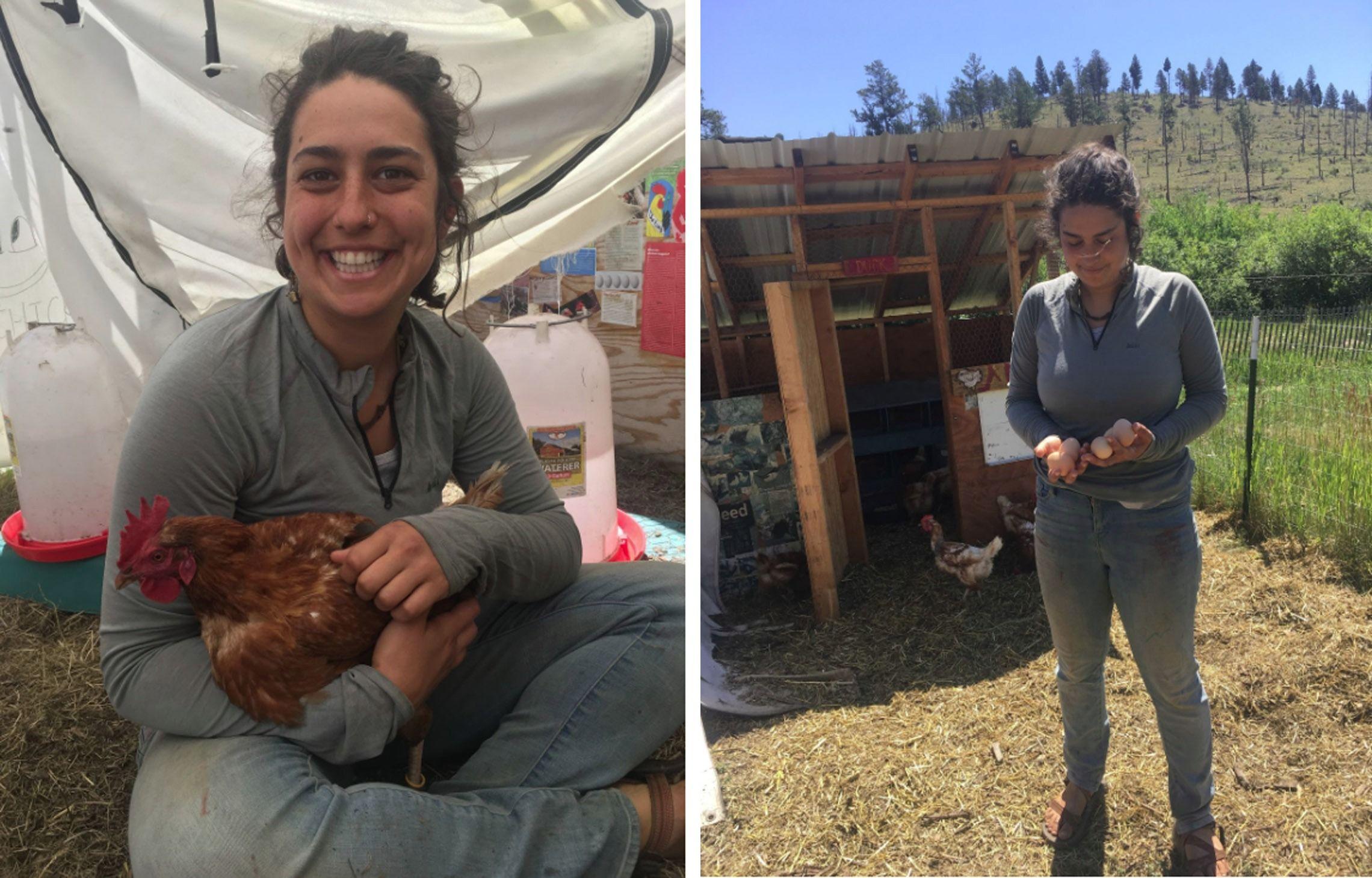 Farm team member Samantha Schwartz with chicken and eggs.