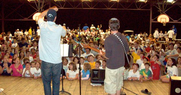 Bible Hip-Hop: Bar (left) and Salzberg perform in front of about 450 campers at Camp Ramah Darom in Georgia.