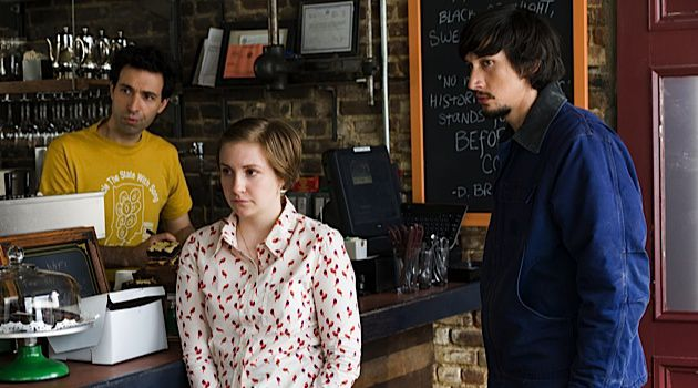Halfway to Hollywood: ?Girls? doesn?t flatter its protagonists ? pictured here are Ray (Alex Karpovsky), Hannah (Lena Dunham) and Adam (Adam Driver) ? but one can?t help but like them.