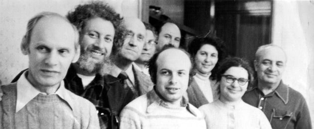 Comrades: An iconic photo of the most famous refusenik activists, taken in Moscow in 1976. Volodya Slepak, with beard, is the first in the back row. In the middle of the first row is Anatoly Shcharansky and next to him is Ida Nudel.