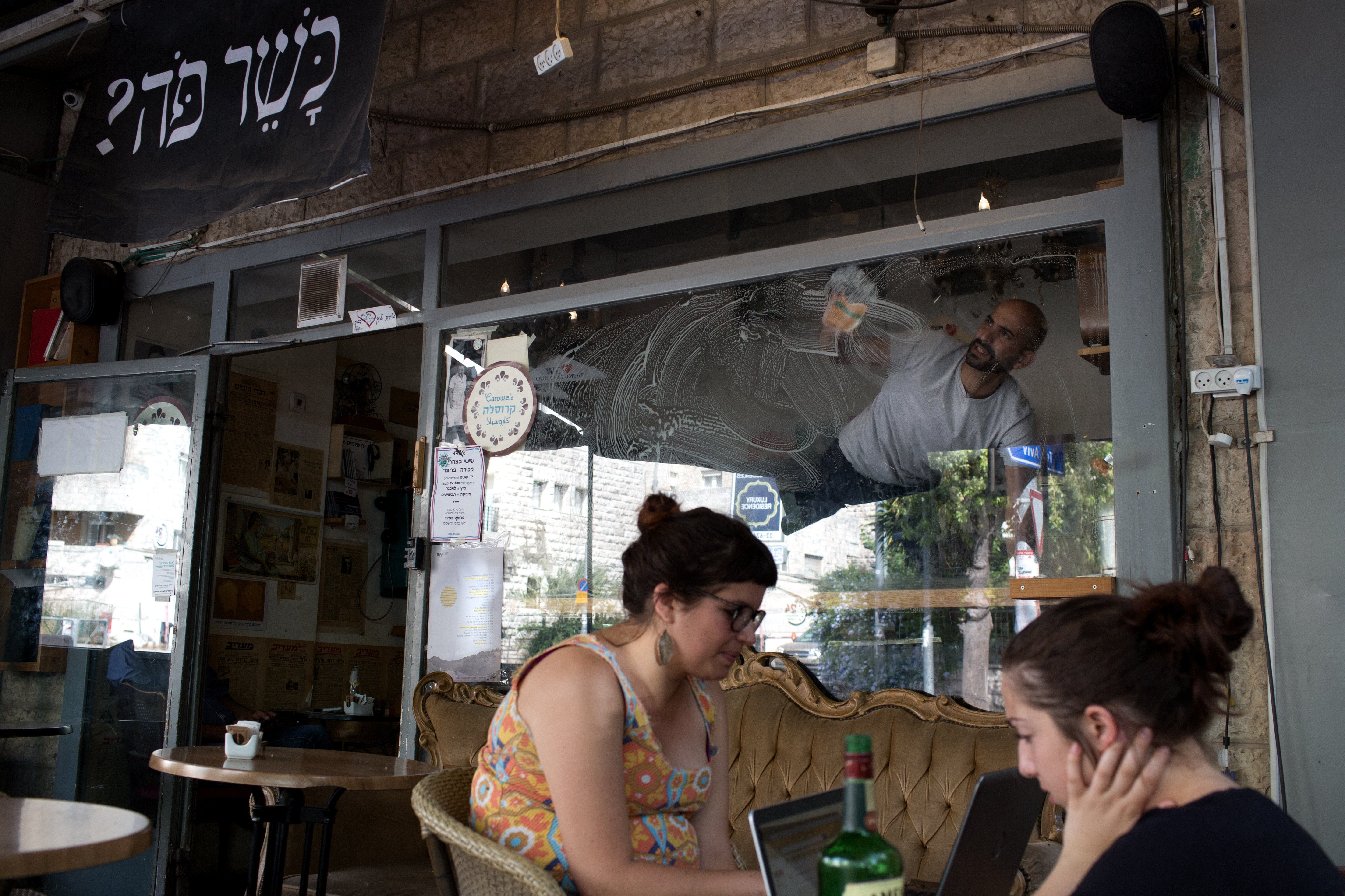 Diners at a cafe in West Jerusalem.