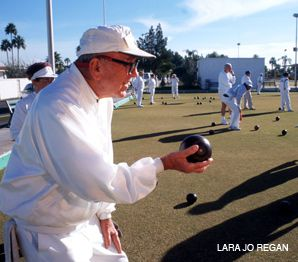 HAVING A BALL: Seniors enjoy lawn bowling at an Arizona retirement community.