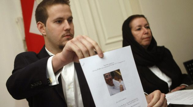 Gone Missing: Daniel Levinson shows a picture of his father, ex-FBI agent Robert Levinson during a press conference with his mother Christine in 2007.