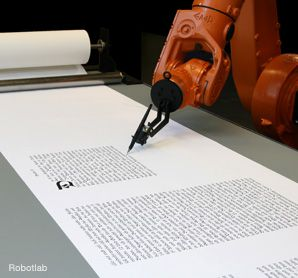 HI-TECH SOFER: A group of artists in Germany programmed a robot to write the entire Bible on a scroll.