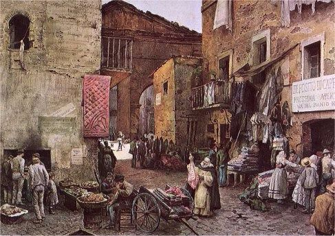 Bleak Times: Via Rua in Rome's Jewish Ghetto, as depicted by Ettore Roesler Franz, circa 1880.