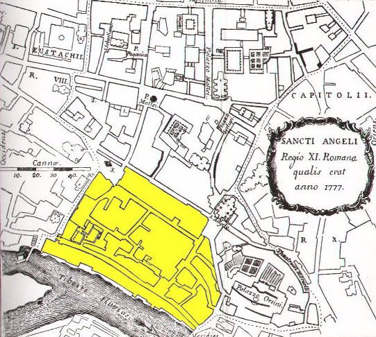 Tight Quarters: A map shows the extent of Rome's Jewish Ghetto in 1777.