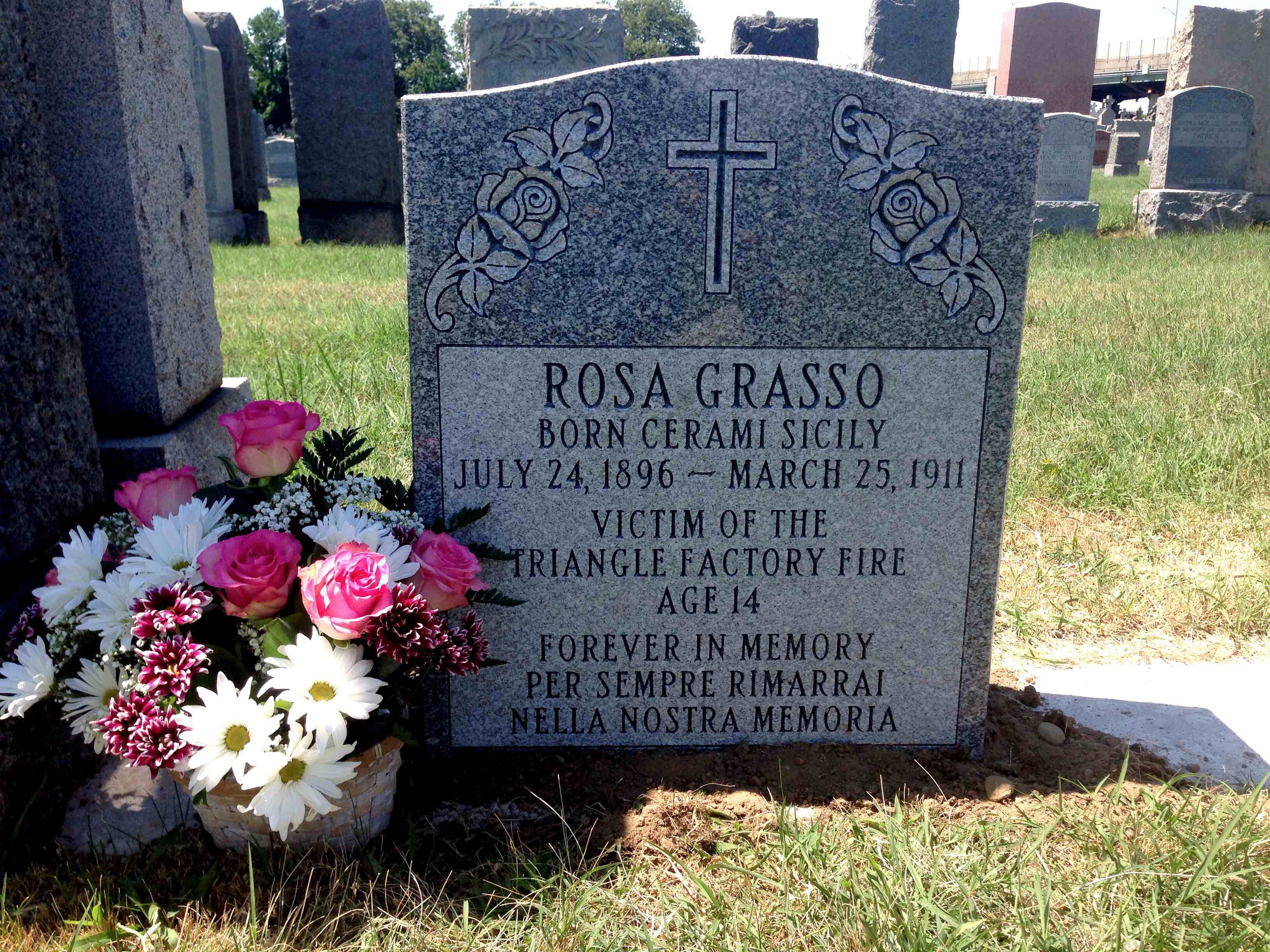At Calvary Cemetery: The grave of Rosa Grasso.