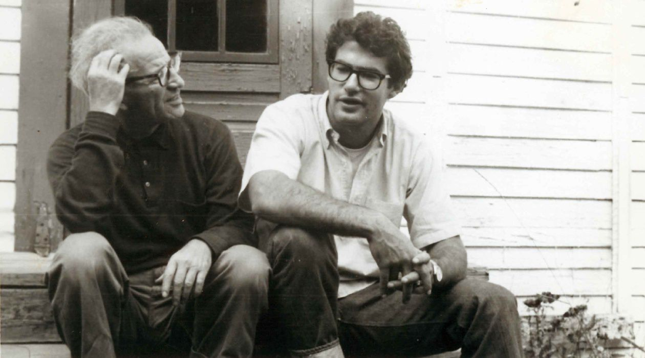 Father and Son: Henry and Hugh Roth sit on their front porch in Augusta, circa 1952.