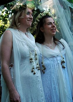 Happily Married: Rabbi Jill Hammer, right, with her wife, Shoshana Jedwab, at their wedding.: