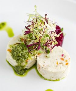Not Grandma?s Gefilte: The gefilte fish at Kutsher?s has been reimagined as finely diced poached halibut.