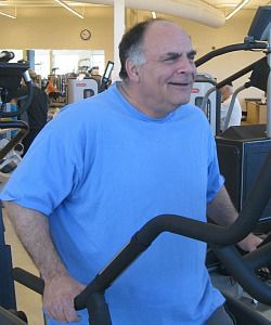 Obama supporter Rick Lichaw works out at the Cleveland JCC.