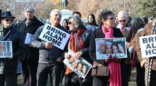 Marking Four Years of Imprisonment: At a December 3 demonstration across the street from the White House, activists call for the release of Alan Gross.