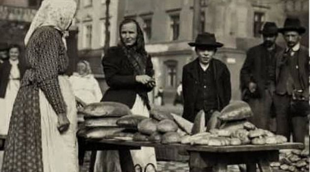 Loafing Around: A Jewish breadseller does business in the Polish city of Krakow around 1910.