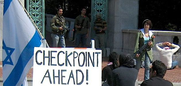 Guarded: Students at the University of California, Berkeley stage a mock Israeli checkpoint in protest of Israeli policies.