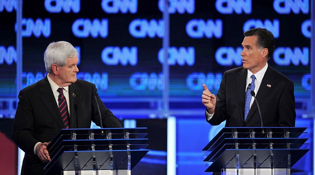 Sparring on Israel: Mitt Romney and Newt Gingrich both reacted strongly when a questioner asked them about the Palestinian people and the peace process.