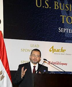 Egypt?s Prime Minister Hisham Qandil addresses a large American business delegation to a conference in Cairo.