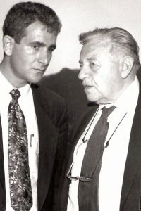 New Language: Jerusalem Mayor Teddy Kollek, right, with Neal Levy. Things have changed a lot since Kollek willed donors to open their checkbooks for Israeli causes.