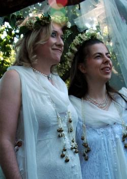Rabbi Jill Hammer, right, with her wife, Shoshana Jedwab, at their wedding.