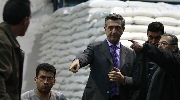 Grandi Vision: Filippo Grandi, the head of UNRWA, inspects relief operation in Gaza.