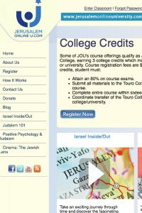 College or Chutzpah? Jerusalem Online U. portrays itself as a legitimate academic program.