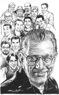 Legacies: A tribute to Joe Kubert by his close friend, famed Batman artist Neal Adams, depicts the late comic book artist surrounded by his colleagues. (Available as a poster from www.the-gutters.com)