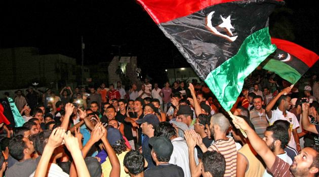 Celebration City: Libyans celebrate the advance of rebel troops on Tripoli.