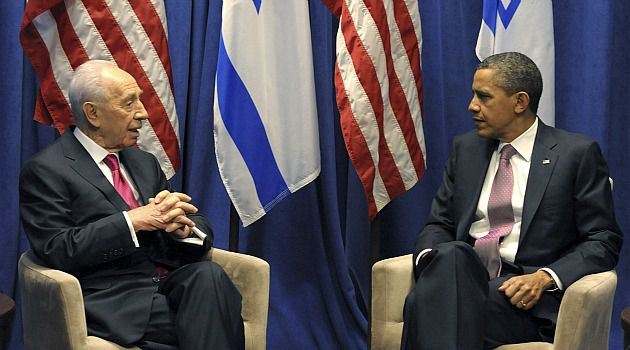 Meeting of Minds: Presidents Barack Obama and Shimon Peres meet on sidelines of AIPAC conference.