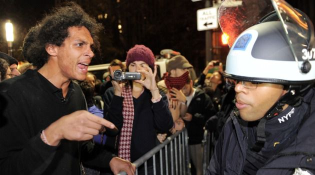 Get Out! Police confront demonstrators at the Occupy Wall Street protest in lower Manhattan.