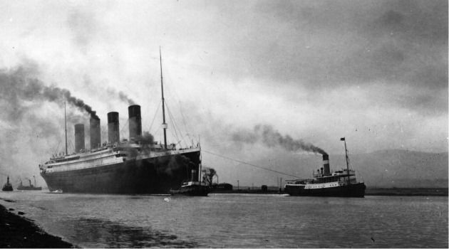 Setting Sail? The Titanic is towed out to sea before its maiden voyage that ended in tragedy.