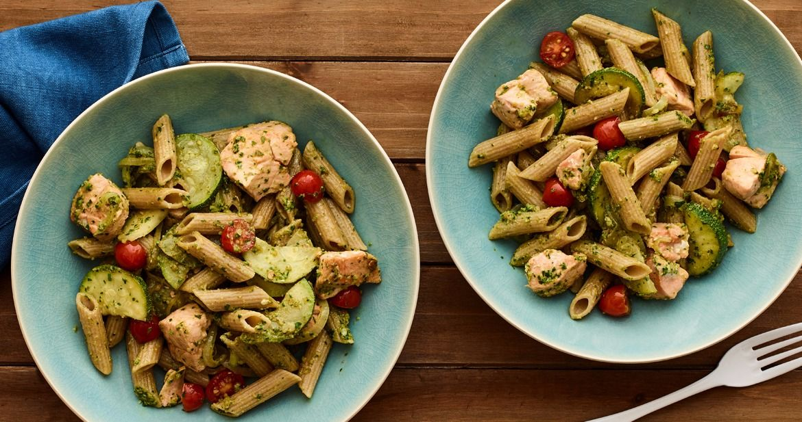 Whole wheat pasta with pesto and salmon is one of Jamie Geller's new Fresh Families recipes.