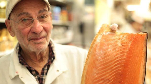 Lox Man: Len Berk, 84, holds up a side of Nova salmon.