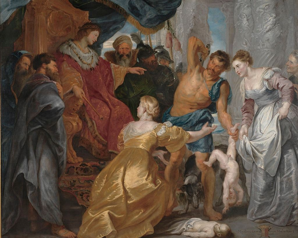 The Judgment of Solomon by Peter Paul Rubens is a 1617 depiction of the parable,