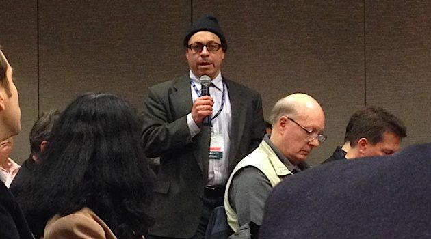 Before the Vote: Professor Samer Ali moderates a panel supportive of BDS at the Modern Language Association conference on Jan. 10, 2014, one day before the organization voted on a resolution on Israel.
