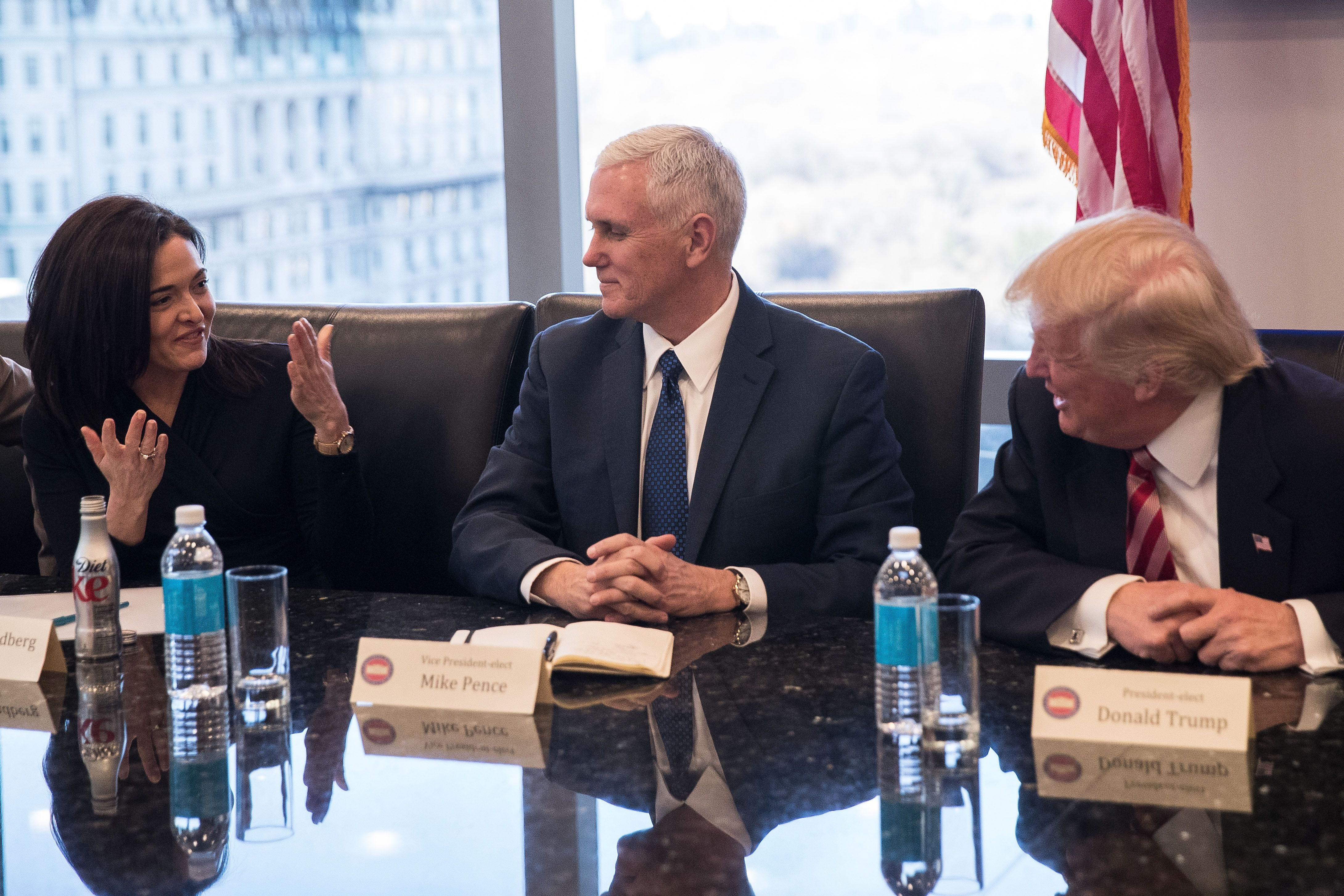 Sheryl Sandberg has the ear of Vice President Mike Pence and President Donald Trump.