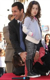 Jewish Dad: Adam Sandler and his daughter pose for the installation of his star on the Hollywood Walk of Fame.