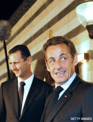 LOOKING FOR PROGRESS: French President Nicolas Sarkozy, above, recently traveled to Damascus in the hopes of pushing forward the latest round of peace talks between Israel and Syria.