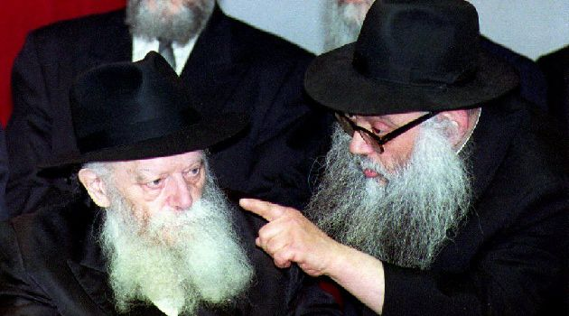 Rebbe, Rebbe: Rabbi Menachem M. Schneerson, seen here (at left) in 1993.