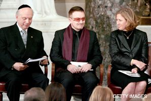 YOU KNOW SCHNEIER, TOO?: Bono and Israeli Foreign Minister Tzipi Livni with Schneier (left) at a memorial service for late congressman Tom Lantos.