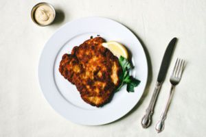 Challah crumbs make the perfect crust for this chicken schnitzel.