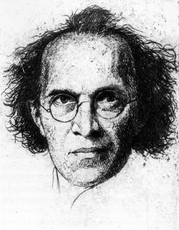 Franz Schreker in 1922, as drawn by the German artist Heinrich Gottselig.