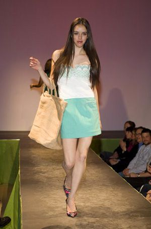Safety First: Erin Schrode models for eco-designer Bahar Shahpar.