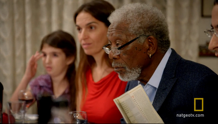 "Morgan Freeman attends a Seder as part of his show ""The Story of God."""