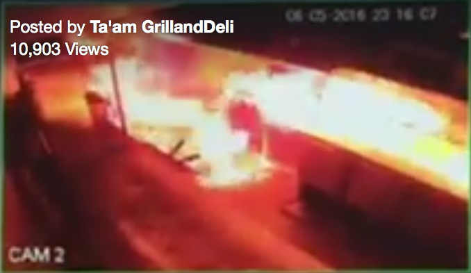 Ta'am kosher restaurant outside Manchester, England, on fire in suspected arson attack.