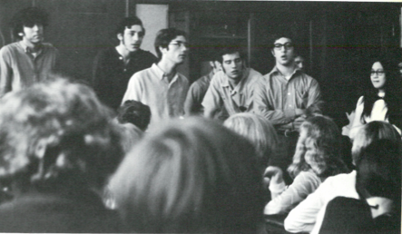The gang: In their high school yearbook, Larry Cohler-Esses on the far left; Joe Glicker in the center and Mansie O'Young on the far right.