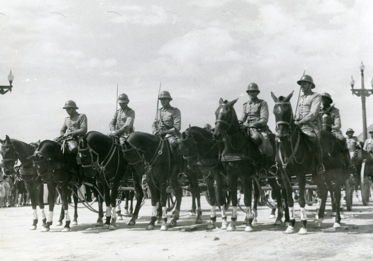War Efforts: Brazilian cavalry is seen on the move through the streets of Rio de Janeiro just one month after entering World War II on the side of the Allies in August 1942.