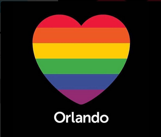 Photo commemorating victims of a shooting at a gay nightclub in Orlando that killed 50 people.