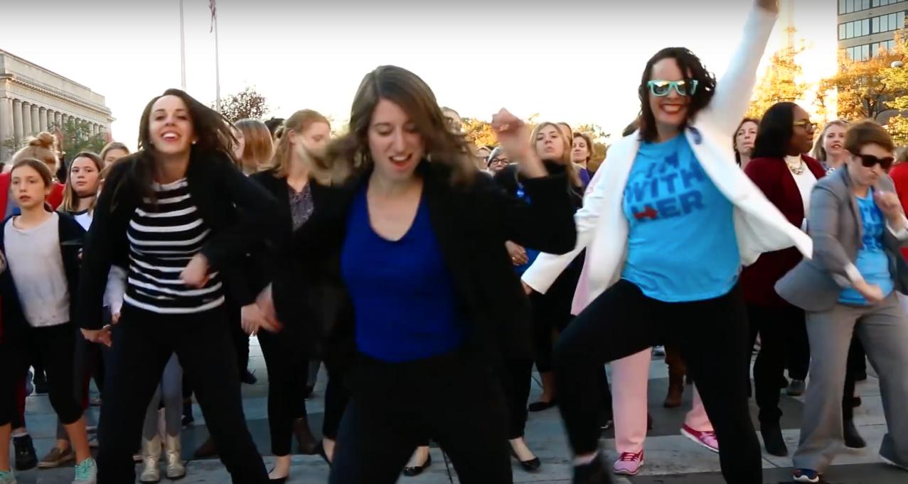 150 were part of the pro-Clinton #DCPantsuitPower flashmob.